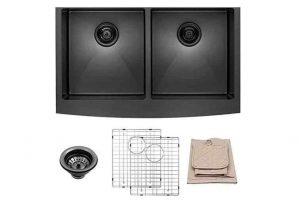 Lordear 33 Inch Farmhouse Sink Apron Front Matte Black Deep Double Bowl 50-50 16 Gauge Stainless Steel Kitchen Sink